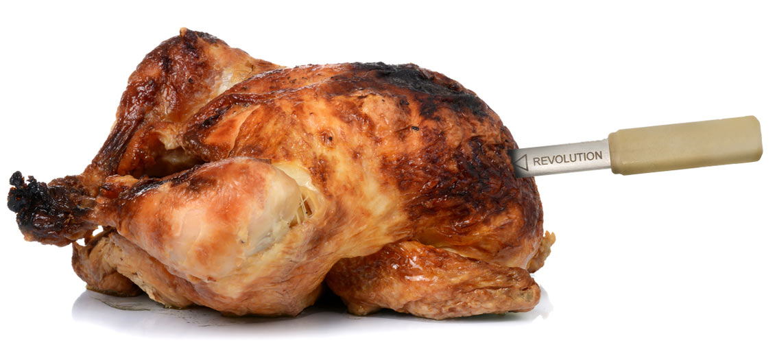 Perfectly cooked rotisserie chicken with Wyze Temp Revolution meat thermometer